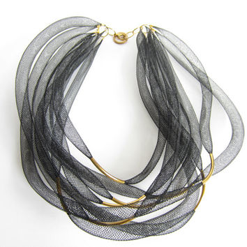 Chunky black NECKLACE multi strand NYLON tubes. Bib Choker multi strand black Tubular network