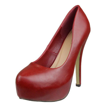 Womens Platform Shoes Closed Toe High Heel Faux Leather Stiletto Pump Red SZ