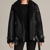 ALLSAINTS US: Womens Hawley Oversized Shearling Jacket (Black)
