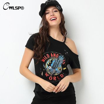 CWLSP 2017 Popular Top T-Shirt Women Holes Sexy Off Shoulder Eagle Rock tshirt Burned Holes Beggar camisas de rayas mujer QA1552