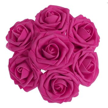 Fuchsia Hot Pink Artificial Flowers 50pcs Real Looking Roses with Stems for Wedding Bouquets Centerpieces Party Baby Shower Decorations DIY