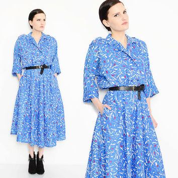 80s Blue Abstract Shirt Dress Full Sweep Skirt Dolman Sleeve 1980s Retro Midi Dress Medium Large M L