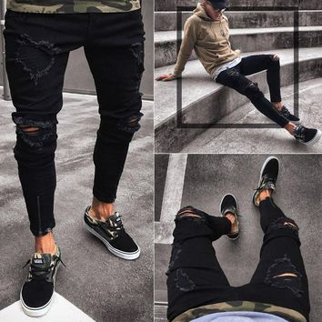 Men's Skinny Slim Fit Straight Ripped Destroyed Distressed Zipper Stretch Denim Pants Jeans 2018 Laipelar