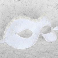 White Bridal Masquerade Mask With Beaded Braid- Embellished Venetian Style Wedding Mask Covered With Lace