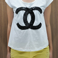 CHANEL CoCo Chanel T Shirts Tank Top women shirt handmade crystal seed beads sequins sew fix