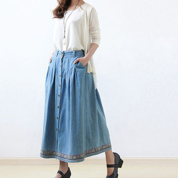 High waist cotton Long Skirt