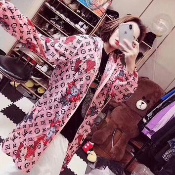 """Louis Vutitton × Supreme"" Women Loose Fashion Cartoon Print Long Sleeve Zip Cardigan Hooded Coat Sun Protection Clothing"