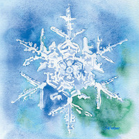 Snowflake Watercolor Painting Giclee Print 8 x 10
