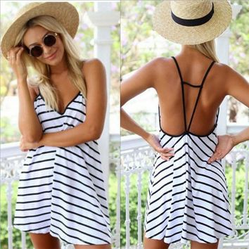 DeRuiLaDy 2018 Women Summer Straps Dress Sexy V-Neck Sleeveless Off Shoulder Striped Dresses Vestidos Casual Beach Loose Dress