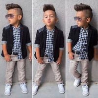 Retals 2015 autumn spring new arrival boys clothing sets kids Boys long-sleeved jacket+shirts+denim pants 3 pieces boys set = 1929592772