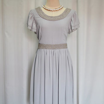 Gorgeous Gray Chiffon Dress,Spring Dress,Summer Dress,Chiffon Dress Embroidery seed bead with tie back Chic for any occasions,Size S,M