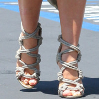 Xena Cream Rope Sandals Gladiator Heels