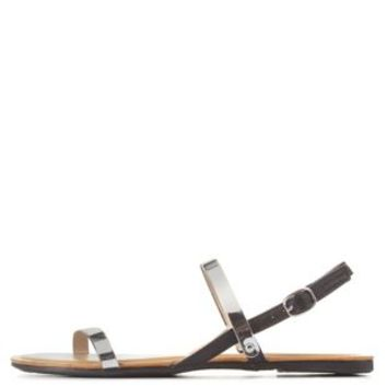 Bamboo Metal-Plated Flat Sandals by Charlotte Russe