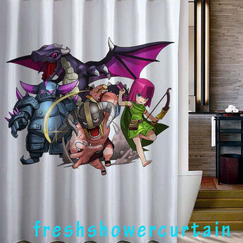 Clash of Clans characters Shower Curtain