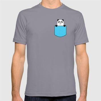 Cute Panda Bear Hiding In Pocket T-shirt by PEW POP!
