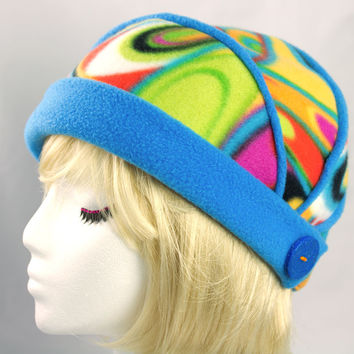 Buttoned and Blue Fleece Flapper Hat in Rainbow Sherbet Swirls with Blue Brim | For Funky Beanies