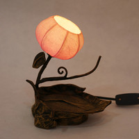 Rice Paper Handmade Round Small Mini Shade Flower Ball Lantern Brown Asian Oriental Decorative Bedside Accent Decor Table Lamp