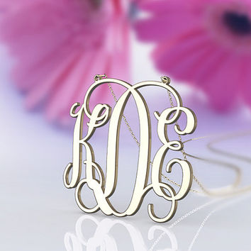 Personalized monogram gift 1.25 inch initial nameplate monogram necklace jewelry for friends