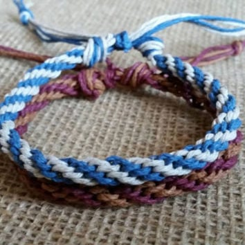 Woven Spiral Bracelet or Anklet - Adjustable - unisex, ecofriendly, gift, beach, boho, kids,