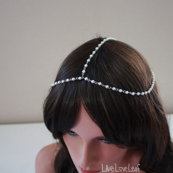 Simple beaded Head chain, bead hair chain, Hair Jewelry, Pearl Hair accessories, boho chic headpiece, goddess headdress, headband, Bridal