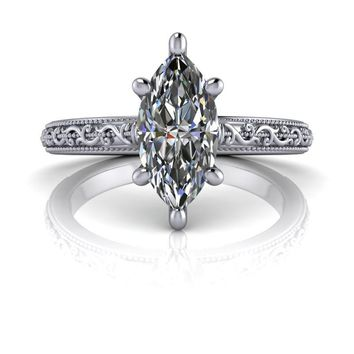 Marquise Sculptural Engagement Ring Celestial Premier Colorless Moissanite