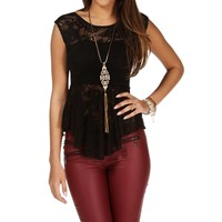 Black Sleeveless Lace Top