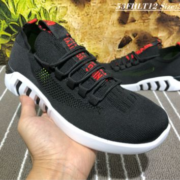 DCCK B015 Balenciaga 2018 Summer Breathable Flyknit Casual Running Shoes Black Red