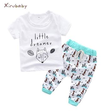 Xirubaby baby clothing sets 2018 Summer infant girl clothes cotton fox printed t-shirt+pants 2pcs newborn boy casual outfit set