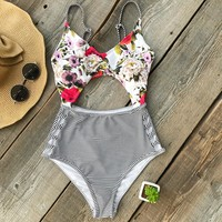 Think About You Print Cutout Swimsuit