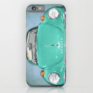 Wander Old Beetle. Green  Vintage Volkswagen iPhone & iPod Case by Guido Montañés