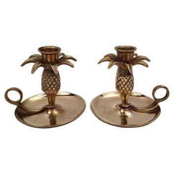 Pre-owned Brass Pineapple Candle Holders - A Pair