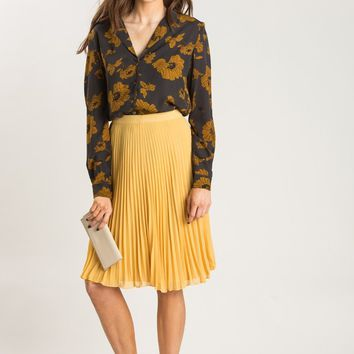 Rowan Grey and Mustard Floral Blouse