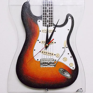 Hand painted Fender Electric Guitar Wall Clock. Custom order. Home decor. Wall decor. Glass clock. For him.