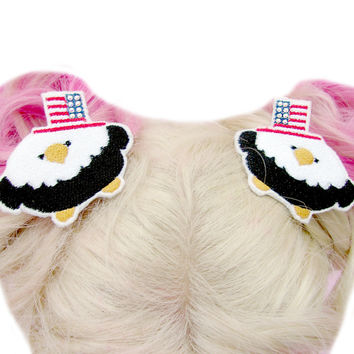 Chibi Bald Eagle Fourth Of July Hair Clips