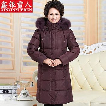 Middle-Aged Mother's Thick Down White Extreme Winter Down Jacket Fur Cape Plus Size Windproof Women's Winter Jacket  A2271
