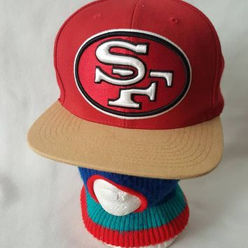 Vtg  San Francisco 49ers snapback hat cap 90s champions Steve Young Jerry Rice Mitchell & ness