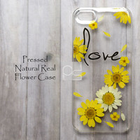 JZL Daisy Love Natural Pressed Real Flower Bling Clear Resin Hard Skin Case Cover For iPhone 4 4s 5 5c 5s 6 plus iPod touch 5 LG G2 G3 Nexus 5 E980