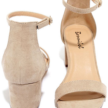 Babe Squad Natural Suede Heeled Sandals