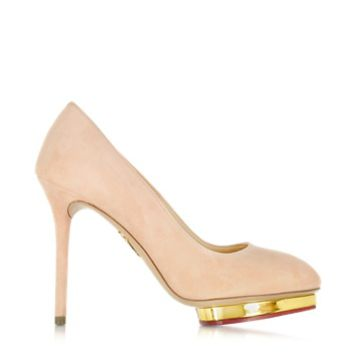 Charlotte Olympia Designer Shoes Dotty 110 Blush Suede Platform Pump
