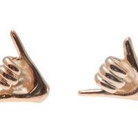 "ROSE GOLD PLATED 925 SILVER HAWAIIAN ""SHAKA"" HANG LOOSE STUD POST EARRINGS"