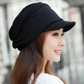 Women's Beanie with a Visor Cap