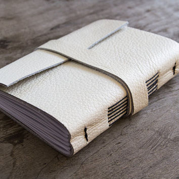 Leather journal, leather notebook, travel journal, travel notebook, leather diary sketchbook, hand bound sewn notebook blank book white