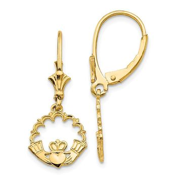 14K Yellow Gold Claddagh in Circle Leverback Earrings