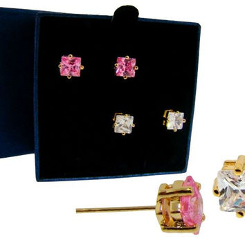 Solitaire Princess Cut Stud Earring Set