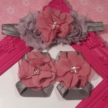 Gray Shabby and Mauve Rhinestone and Pearl Chiffon Flower Baby Girl Headband and Barefoot Sandal Set!