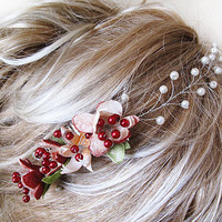 Pure silk cocoon flower and pearl Wedding Combs,  hair fascinator, Wedding  Flower Hair Combs,  Hair Accessories,  hair pin Clips