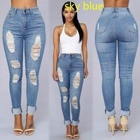 Ripped Denim High Waist Pencil Jeans-Blue