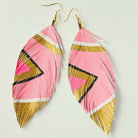 Neon Cotton Candy Hand Painted Earrings