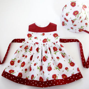12 month dress with matching hat first birthday outfit red floral infant dress boutique dress baby dress with baby hat sunday best