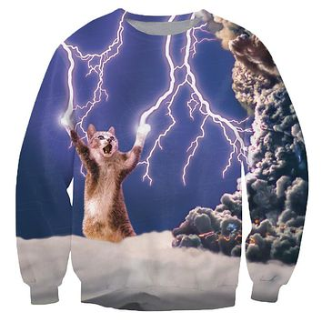 Alisister Unisex Women/Men Fashion Thundercat Sweatshirt Cat/lightning Thunder Crewneck Winter Autumn Harajuku 3d Hoodies